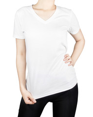 White T - shirt on woman body with front side isolated on white