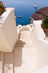 The stairs in Oia town on the island of Santorini, Greece.