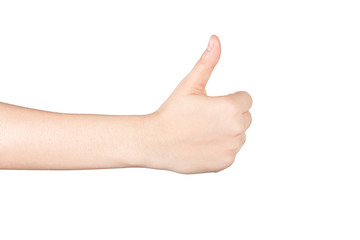 Closeup of woman hand showing thumbs up sign isolated on white.
