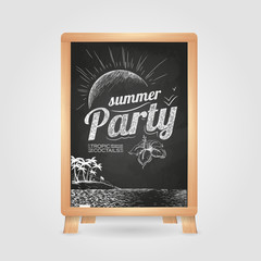 Summer party poster. Disco background. Chalk drawings. Chalk boa