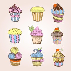 Set of cakes. Decorative sketch