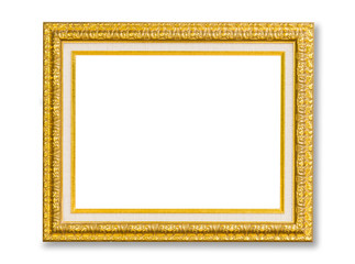 Vintage Golden frame with empty space isolated on white backgrou