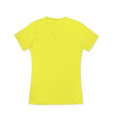 Yellow lady T-shirt isolated on white background.
