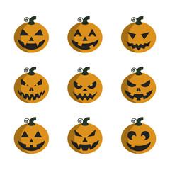 Pumpkins set for Halloween.