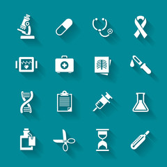 Set of white flat vector medical icons.