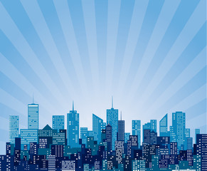 blue cityscape burst
