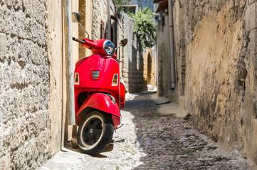 Fotorolgordijn Scooter Classic red scooter