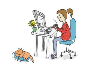 Girl drinking coffee with computer