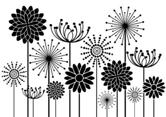 black vector flowers silhouettes background