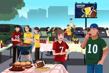 American football fans having a tailgate party