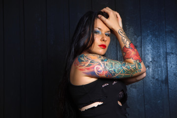 lovely woman with tattoo,.,.