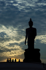 Big Buddha in the evening. silhouette  in the evening.