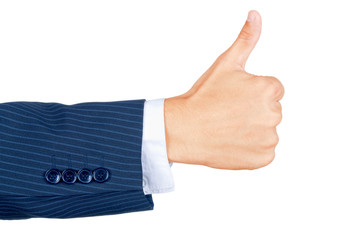 Business hands showing thumbs up sign against white background