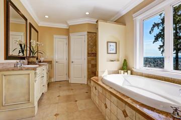 Soft tones bathroom interior in luxury house