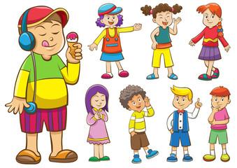 set of cartoon kids.