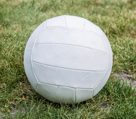 single volleyball on grass