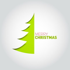 Christmas tree cut out of white paper. Design element for holida