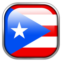 Puerto Rico Flag square glossy button