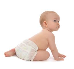 Infant child baby toddler sitting crawling backwards happy smili