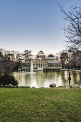 Crystal Palace on Retiro Park in Madrid, Spain.
