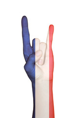 Hand covered in flag of France