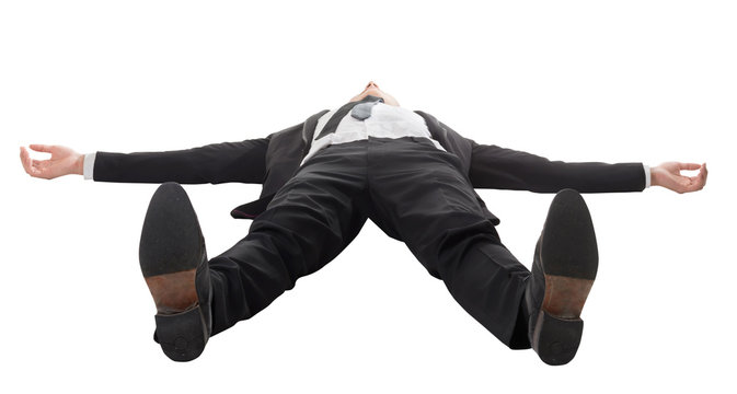 businessman lying on ground
