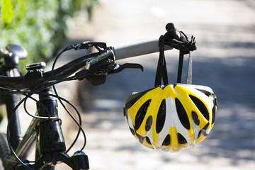 cycling helmet closeup on bicycle outdoors