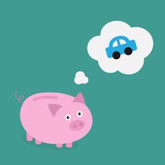 Piggy bank dream about blue car. Think bubble. Flat design
