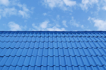 Blue Roof on Blue Sky Background