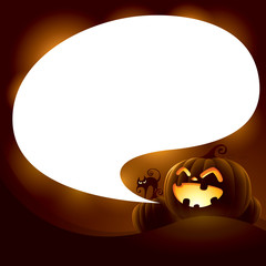 Halloween Jack-o-lantern with speech bubble