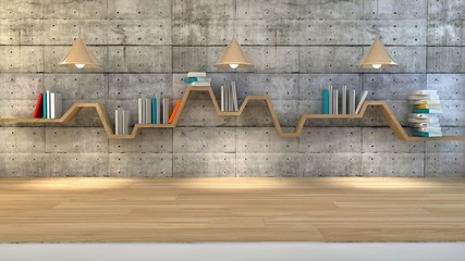 book shelf over dramatic background