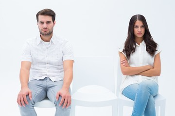 Angry couple not talking after argument