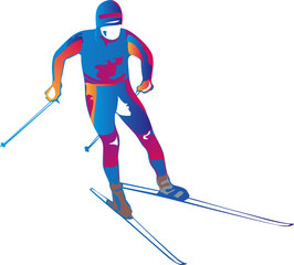 Vector illustration of a colorful skier