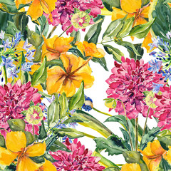 Summer flower seamless pattern