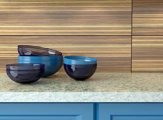 Blue ceramic kitchenware.