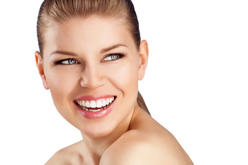 Teeth whitening and cure. Close-up of happy smiling woman