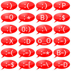 Illustration of emoticons for instant messengers, internet pager