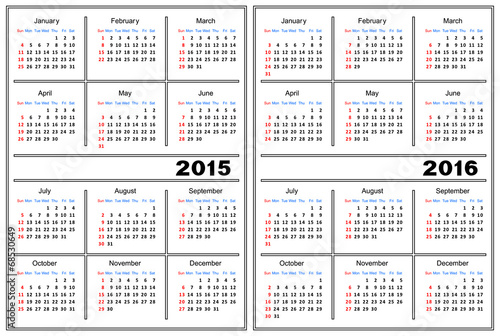 Calendar Template 2015 2016 Stock Image And Royalty Free Vector