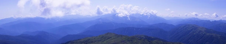 Panorama Caucasus Mountains, with slopes Oshten