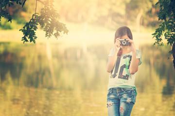 Pretty photographer girl