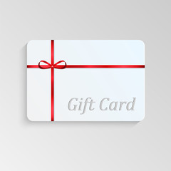 Gift card with a red bow