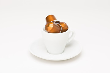 Coffee cup with capsule