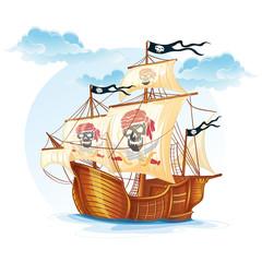 Image caravel ship pirates. XV century-EPS10
