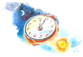 Fotobehang Schilderingen clock