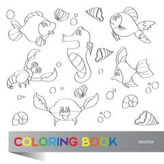 Coloring book - marine life