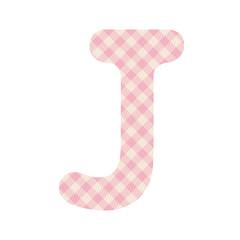 Pink squares pattern alphabet J