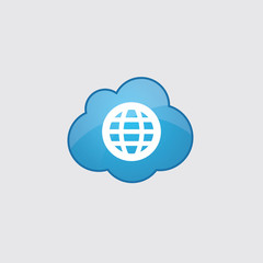 Blue cloud globe icon.