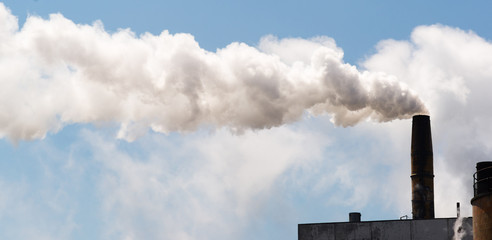 Paper Mill Smokestack White Smoke Blue Sky