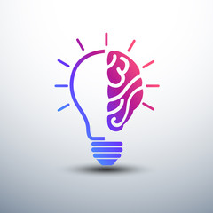 Creative brain Idea concept with light bulb icon ,vector illustr