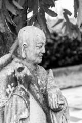 Chinese Monk Statue, Bangkok, Thailand. (Black & White)